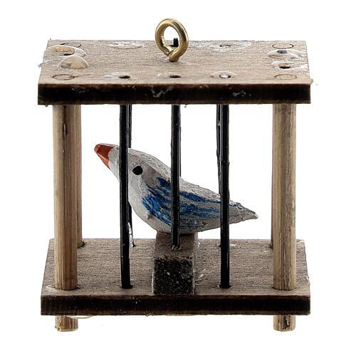 Gabbia quadrata con uccellino presepe 10-12 cm 2