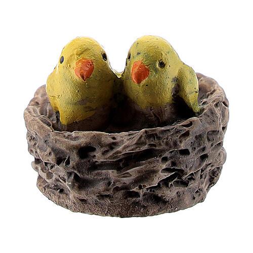 Nest with chicks 1.5 cm for Nativity scene 8-10 cm 1