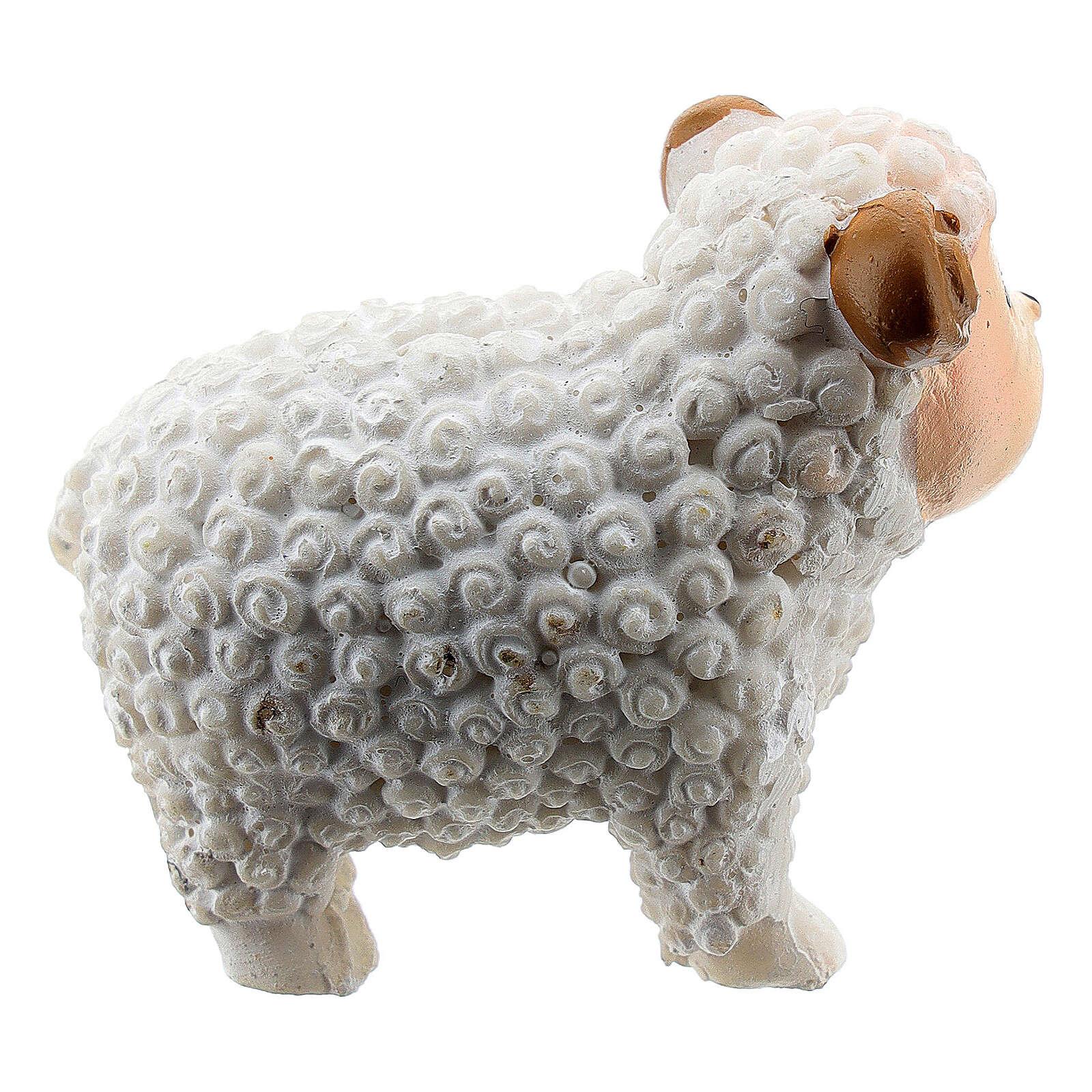 White lamb 5 cm resin for Nativity scene 8 cm children's line 3