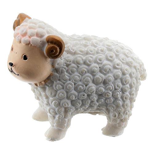 White lamb 5 cm resin for Nativity scene 8 cm children's line 1
