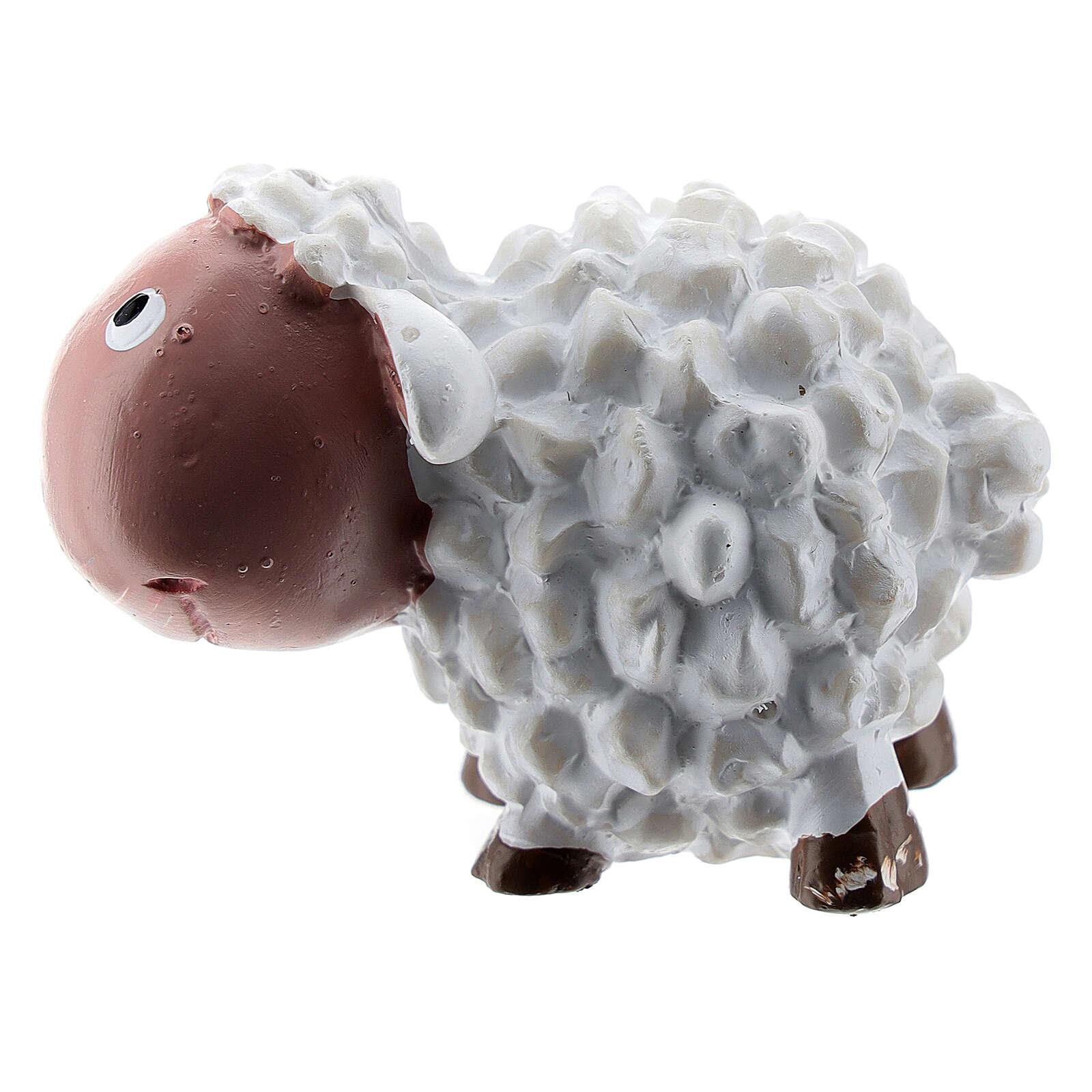 White sheep 4 cm resin for Nativity scene 8 cm children's line 3