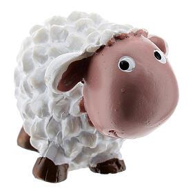 White sheep 4 cm resin for Nativity scene 8 cm children's line s3
