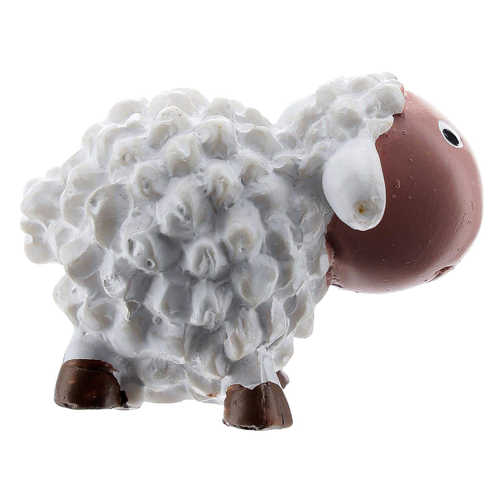 White sheep figurine h 4 cm, 8 cm nativity scene for children 3