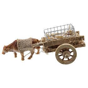 Carretto bue con agnelli presepe fai da te 6-8 cm s1