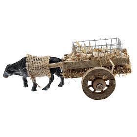 Carretto bue con agnelli presepe fai da te 6-8 cm s3