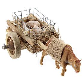 Carretto bue con agnelli presepe fai da te 6-8 cm s4