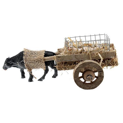 Carretto bue con agnelli presepe fai da te 6-8 cm 3