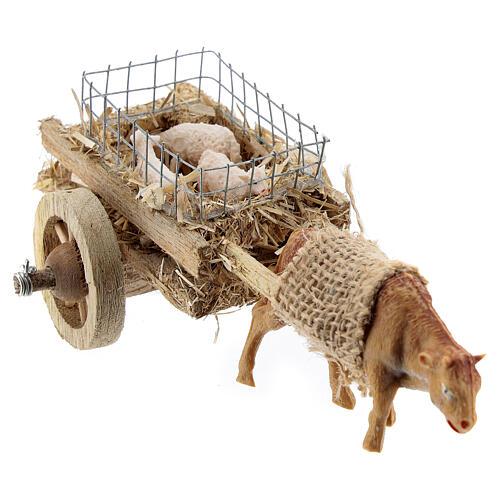 Carretto bue con agnelli presepe fai da te 6-8 cm 4