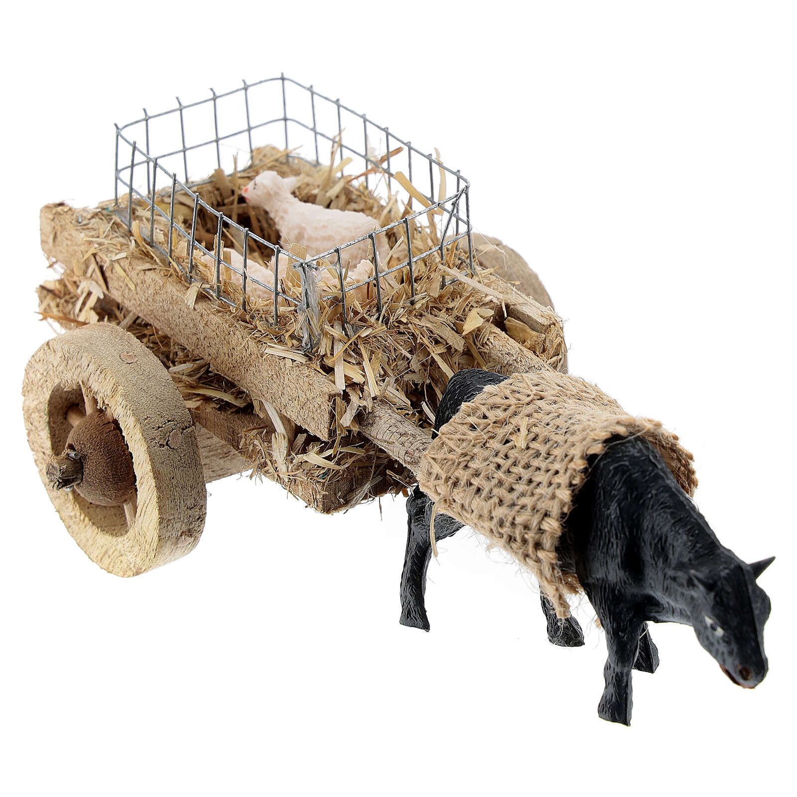 Ox cart with lambs for DIY nativity 6-8 cm 3