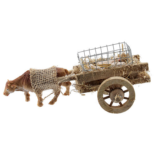 Ox cart with lambs for DIY nativity 6-8 cm 1