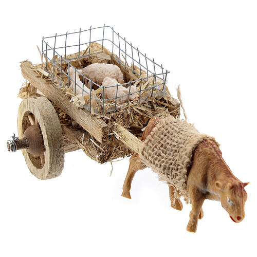 Ox cart with lambs for DIY nativity 6-8 cm 4