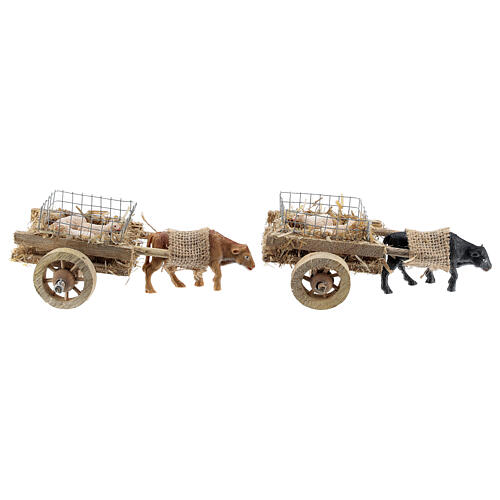 Ox cart with lambs for DIY nativity 6-8 cm 5