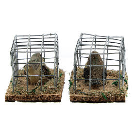 Vogel in Käfig aus Harz für Krippe verschiedene Modelle, 8-10-12 cm s4