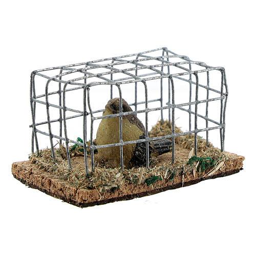 Vogel in Käfig aus Harz für Krippe verschiedene Modelle, 8-10-12 cm 2