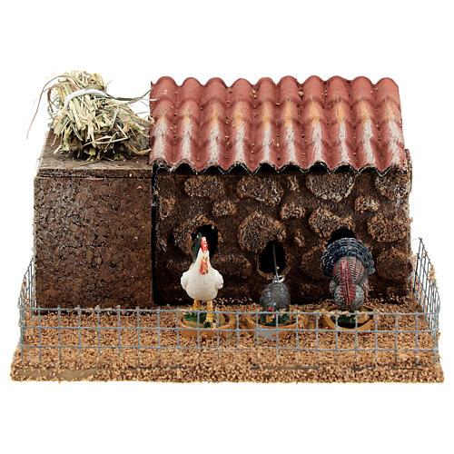 Pollaio presepe 10-12 cm galline tacchino movimento 10x15x10 cm 1