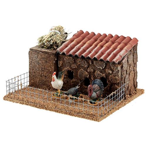 Pollaio presepe 10-12 cm galline tacchino movimento 10x15x10 cm 2