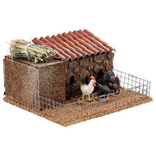 Pollaio presepe 10-12 cm galline tacchino movimento 10x15x10 cm 3