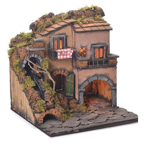 Village crèche Naples avec chutes d'eau style 1700 30x30x30 cm 2