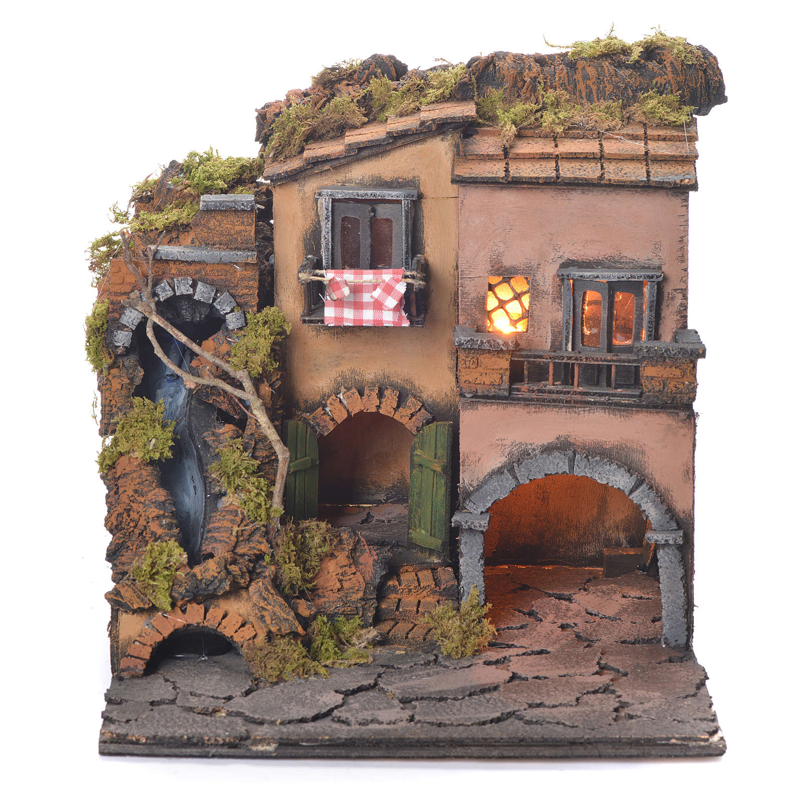 Neapolitan Nativity Village, 1700 style with waterfall 30x30x30cm 4