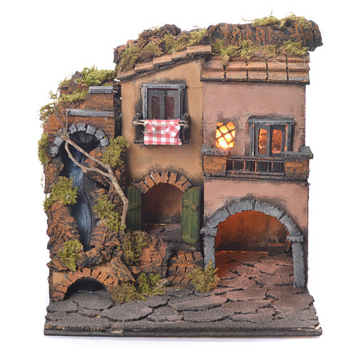 Neapolitan Nativity Village, 1700 style with waterfall 30x30x30cm 1