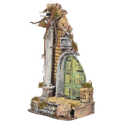 Temple ancien crèche liège 30x15x12 cm 2