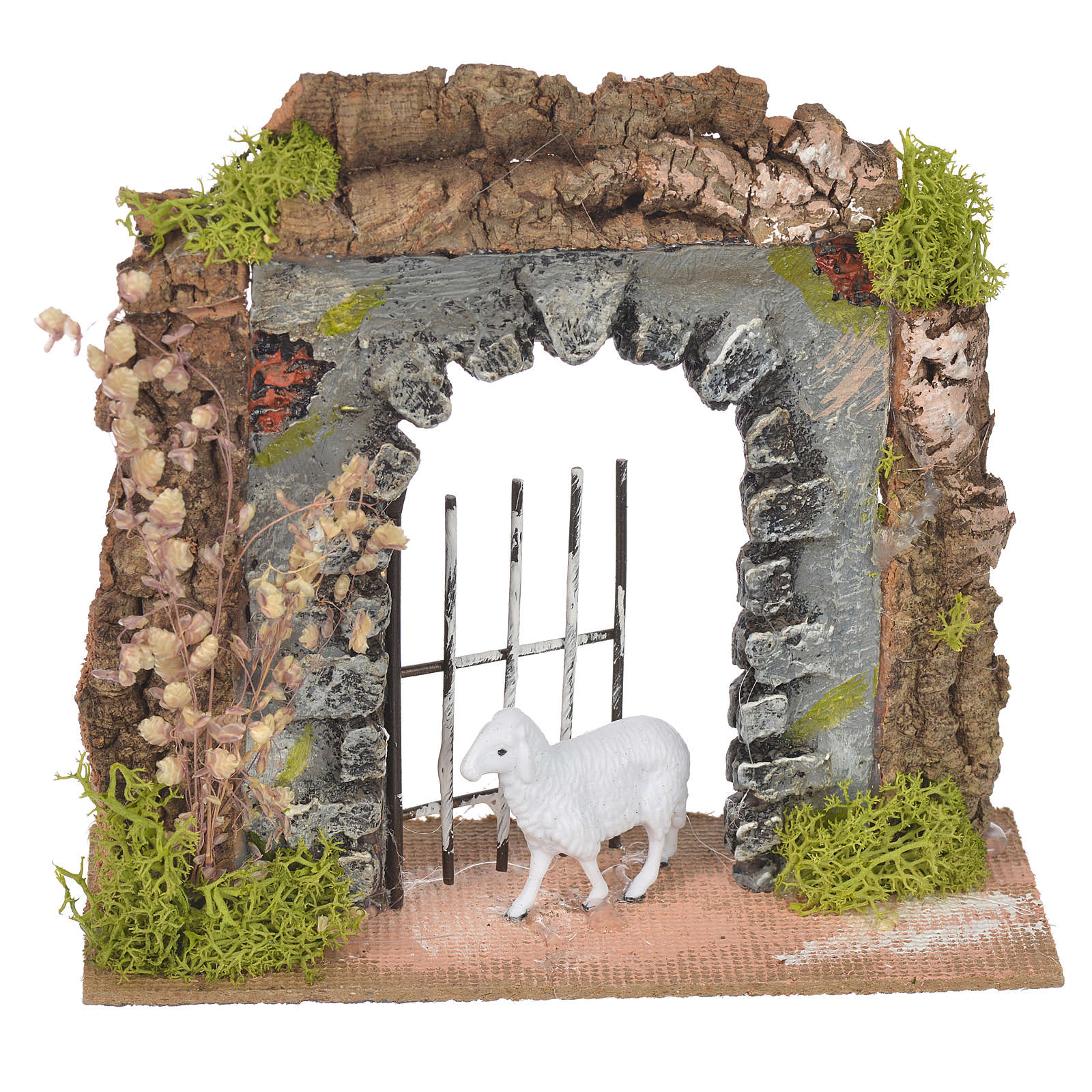 Wall in cork with gate for nativities, 14x15x6.5cm 4