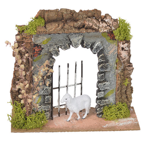 Wall in cork with gate for nativities, 14x15x6.5cm 1