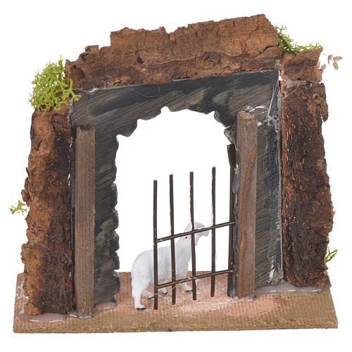 Wall in cork with gate for nativities, 14x15x6.5cm 2
