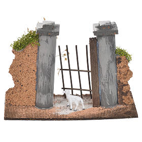 Wall in cork with gate for nativities, 11x16x5cm s2