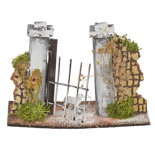 Wall in cork with gate for nativities, 11x16x5cm 1