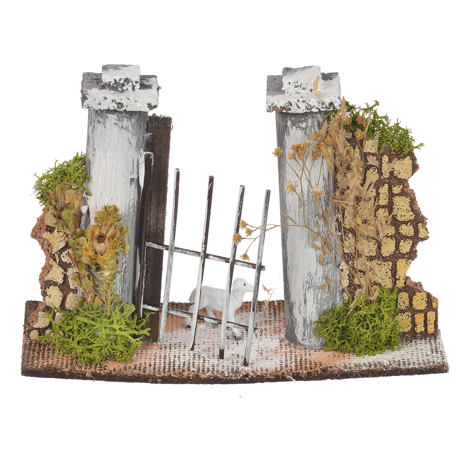 Wall in cork with gate for nativities, 11x16x5cm 4