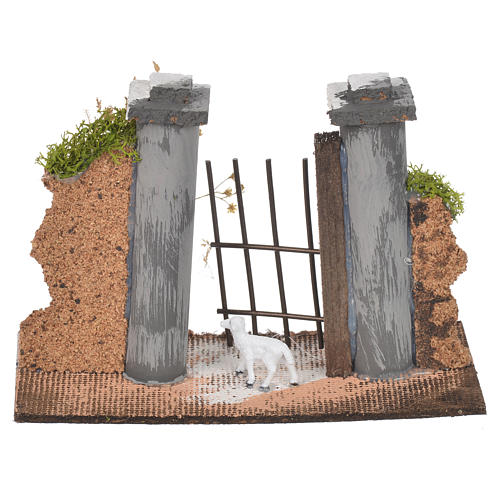 Wall in cork with gate for nativities, 11x16x5cm 2