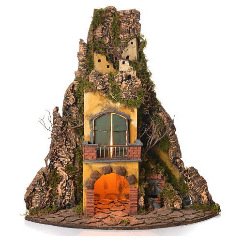 Borgo presepe napoletano stile 700 angolare con fontana 64x38x38 1