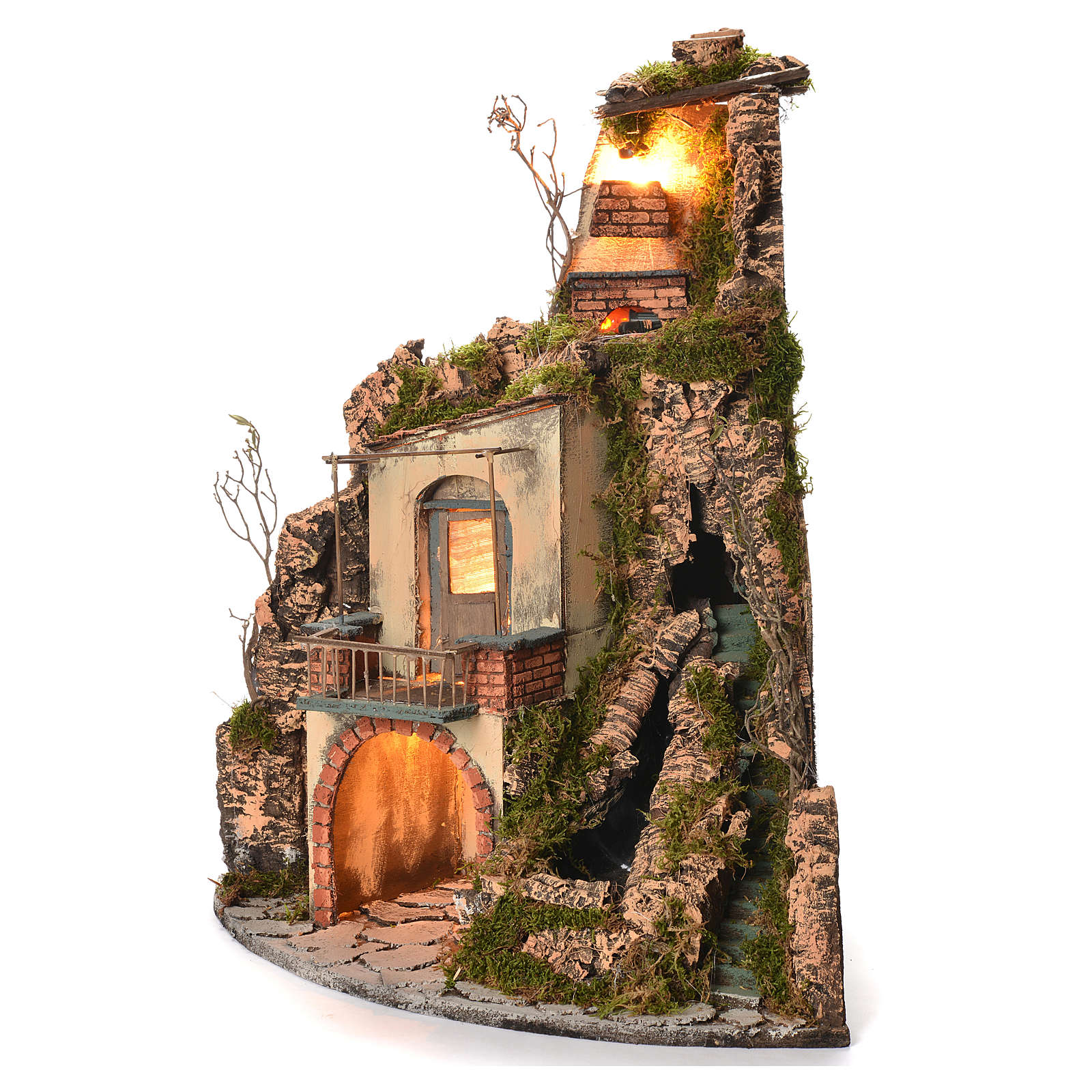 Borgo presepe napoletano stile 700 angolare cascata 65x44x40 4