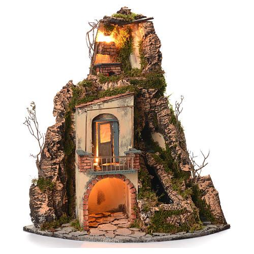 Borgo presepe napoletano stile 700 angolare cascata 65x44x40 1