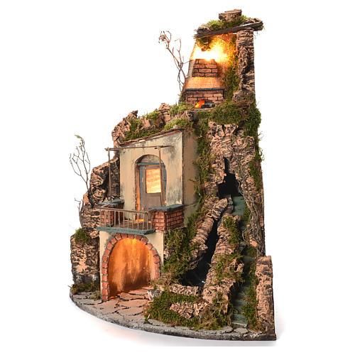Borgo presepe napoletano stile 700 angolare cascata 65x44x40 2