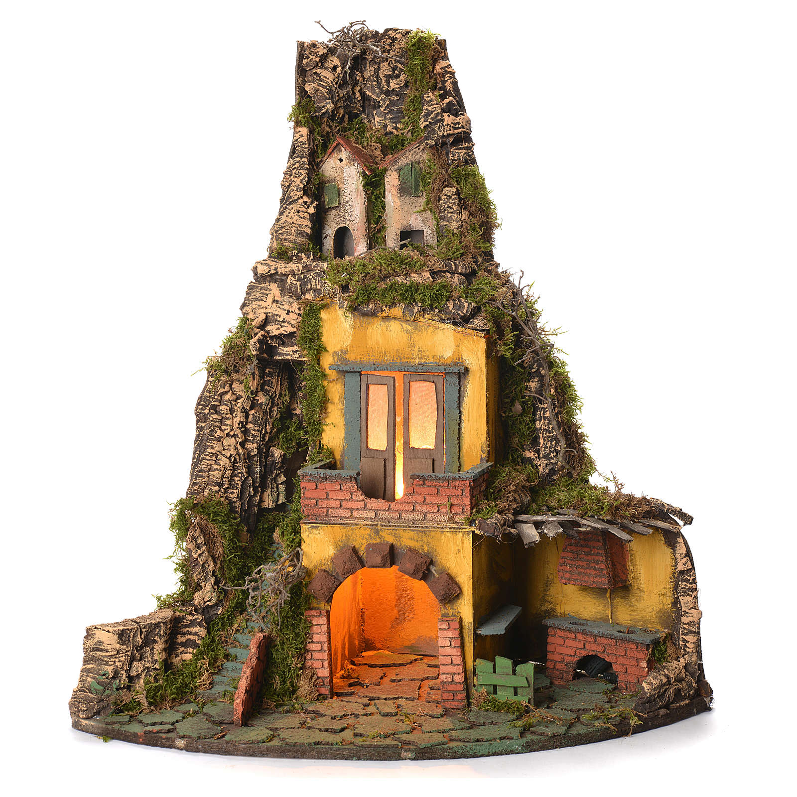 Village crèche napolitaine style 1700 angle avec four 50x40x50 cm 4