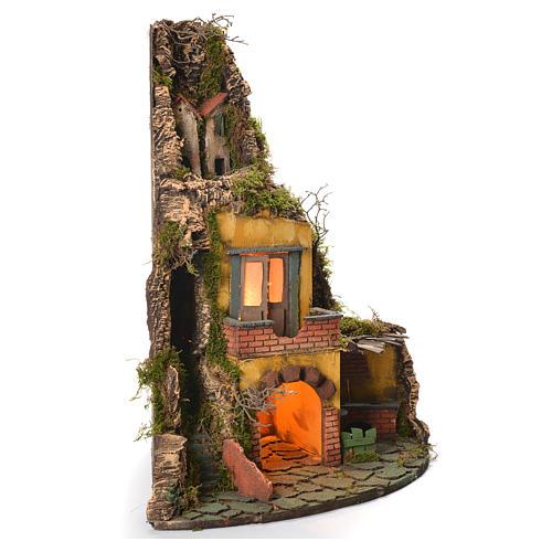 Village crèche napolitaine style 1700 angle avec four 50x40x50 cm 2