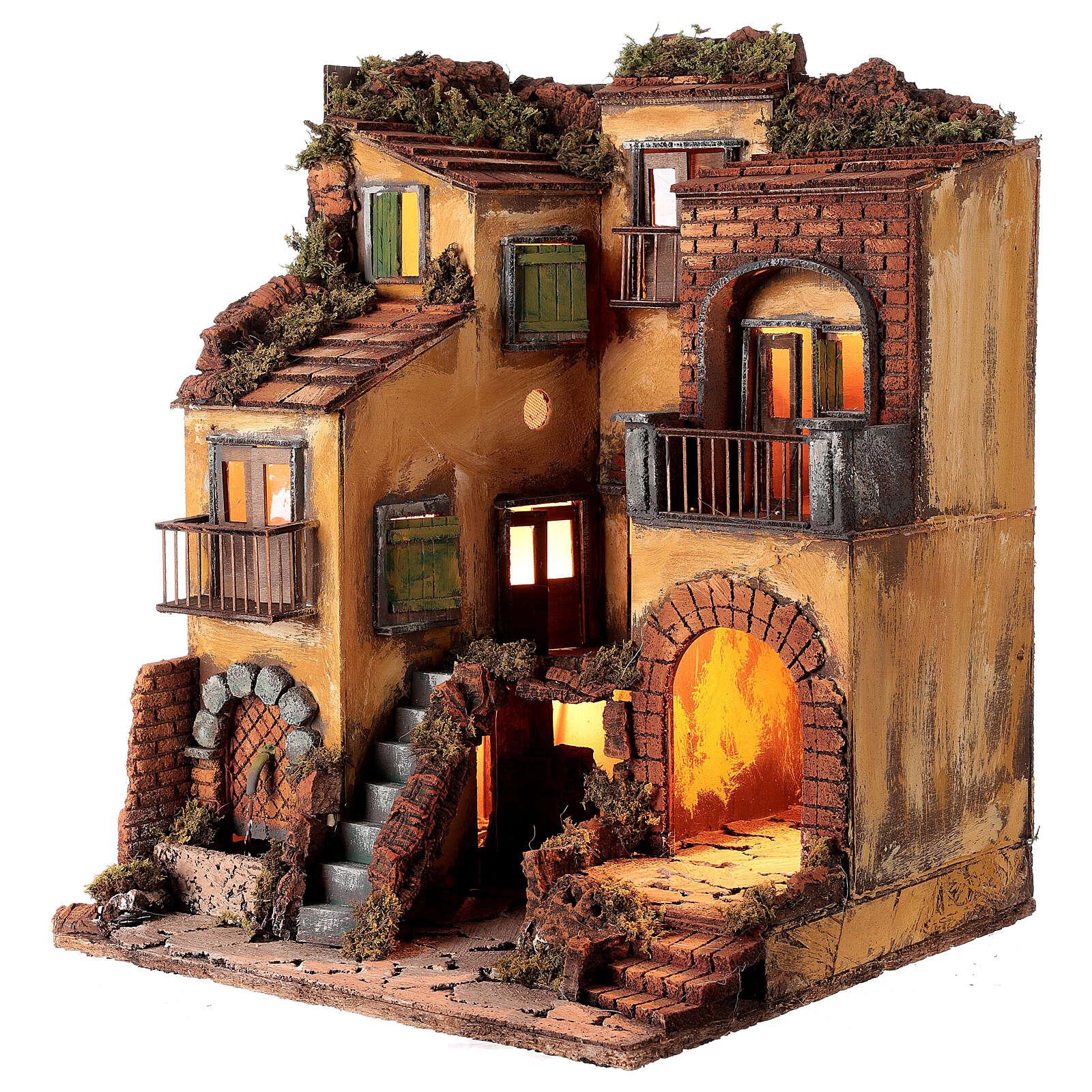 Borgo presepe napoletano stile 700 e fontana cm 50x40x44 4
