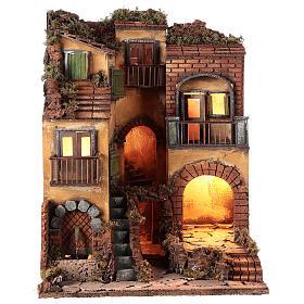 Borgo presepe napoletano stile 700 e fontana cm 50x40x44 s1