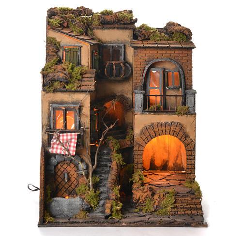 Borgo presepe napoletano stile 700 e fontana cm 50x40x44 2