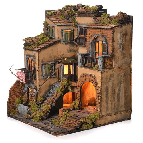 Borgo presepe napoletano stile 700 e fontana cm 50x40x44 3