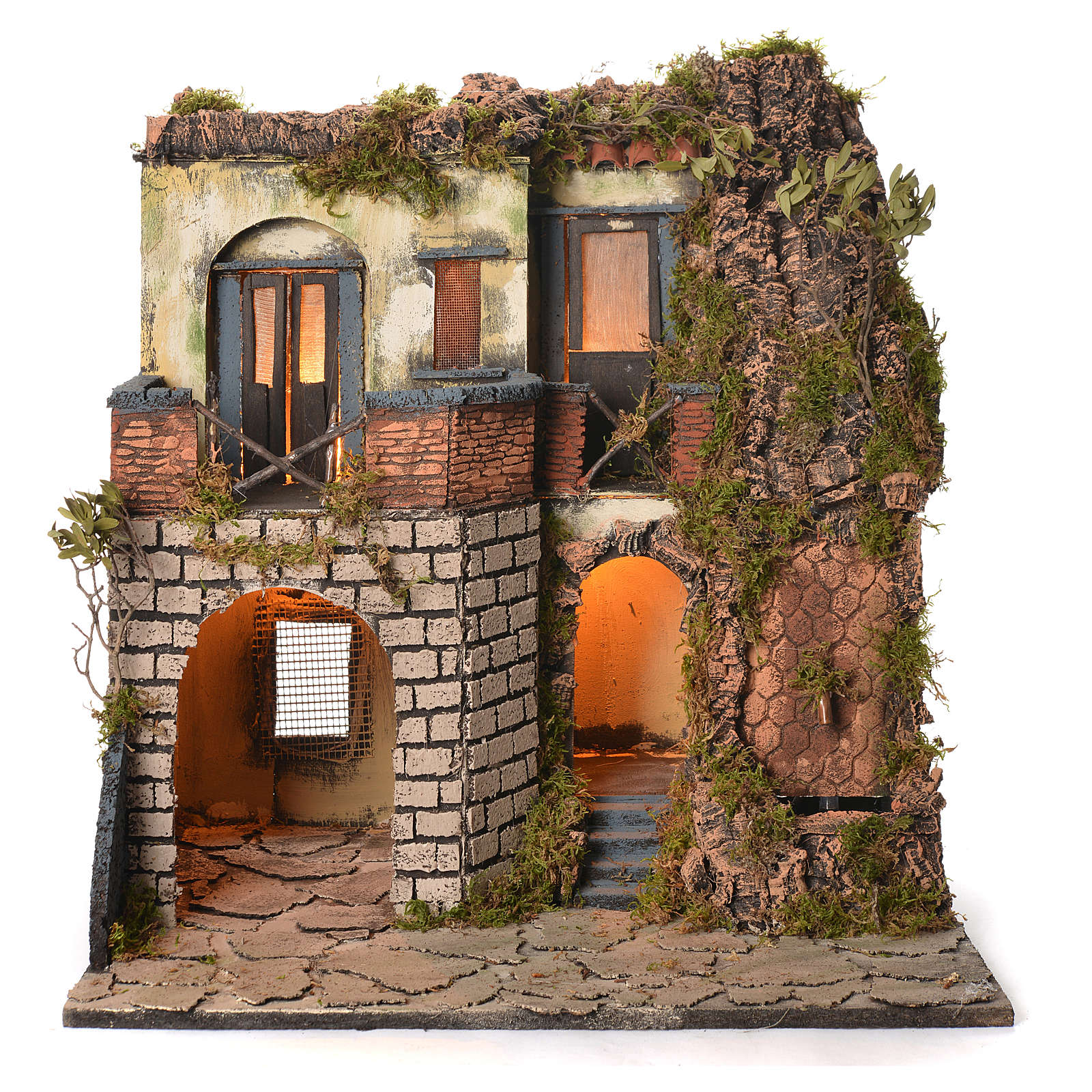 Neapolitan Nativity Village, 1700 style with fountain 50x40x50cm 4