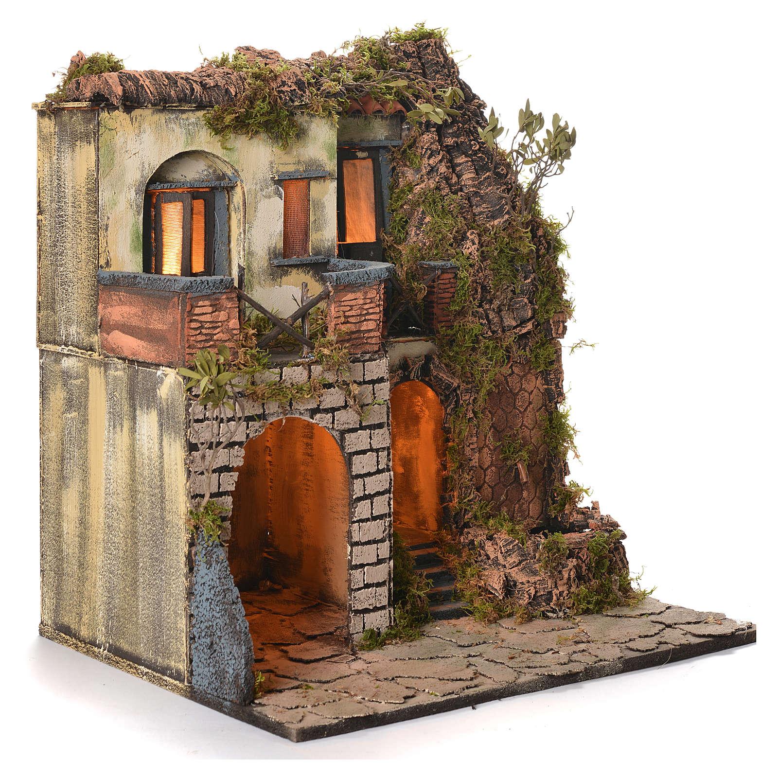 Borgo presepe napoletano stile 700 laterale con fontana cm 50x40x50 4