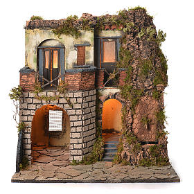 Borgo presepe napoletano stile 700 laterale con fontana cm 50x40x50 s1