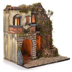 Borgo presepe napoletano stile 700 laterale con fontana cm 50x40x50 s2