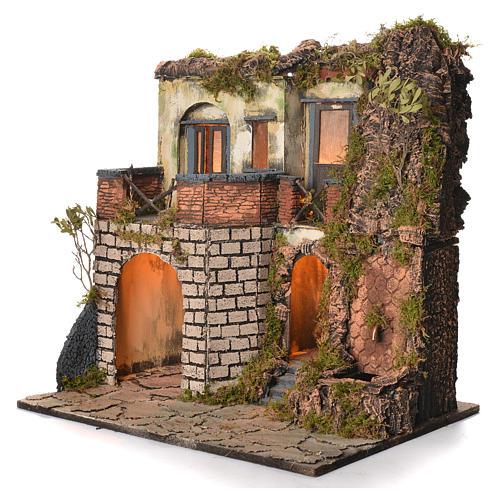 Borgo presepe napoletano stile 700 laterale con fontana cm 50x40x50 3