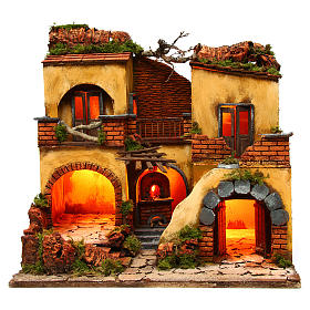Neapolitan Nativity Scene: Neapolitan Nativity Village, 1700 style with double arch 43x40x50cm