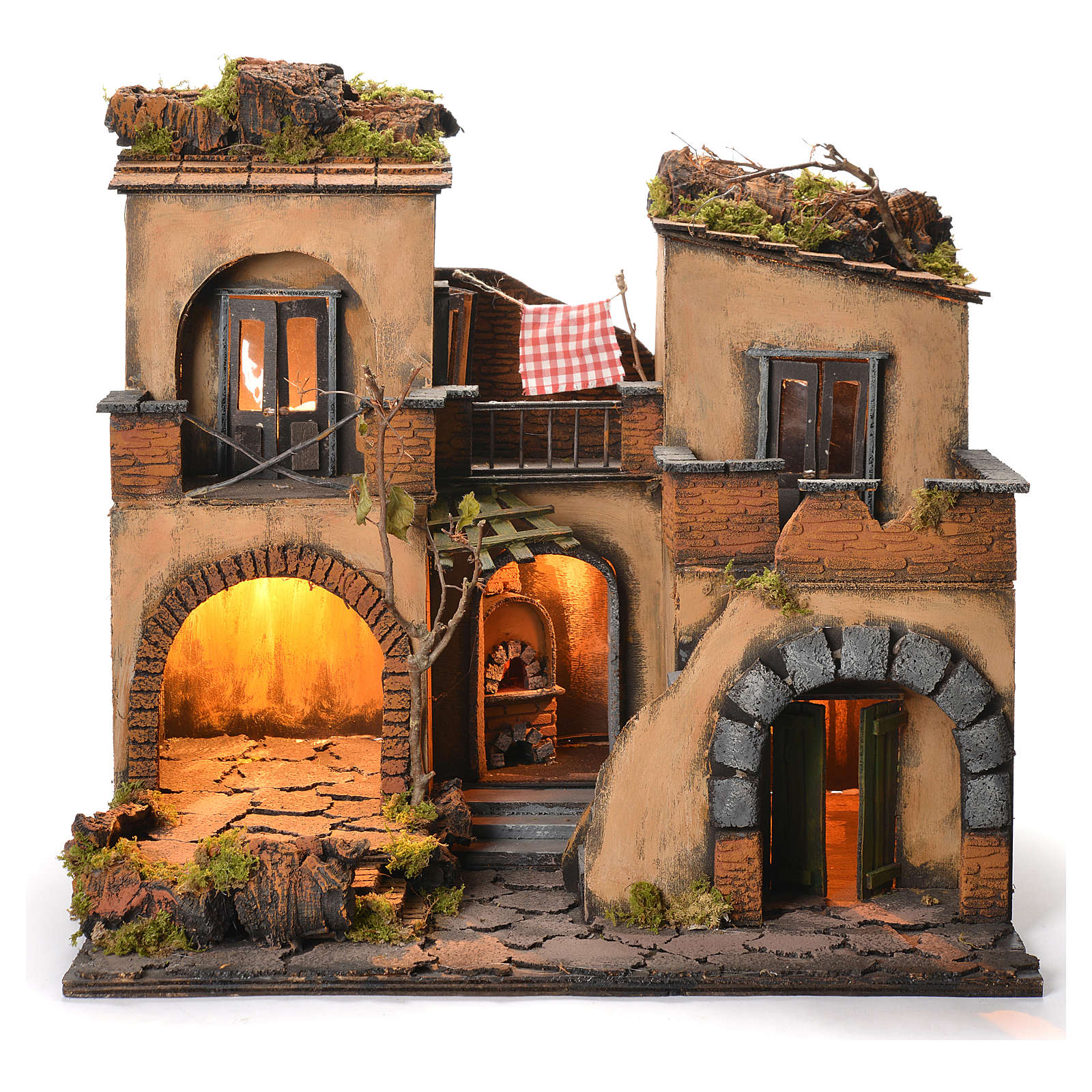 Borgo presepe napoletano stile 700 doppio arco cm 43x40x50 4