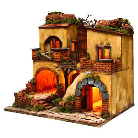Borgo presepe napoletano stile 700 doppio arco cm 43x40x50 s2